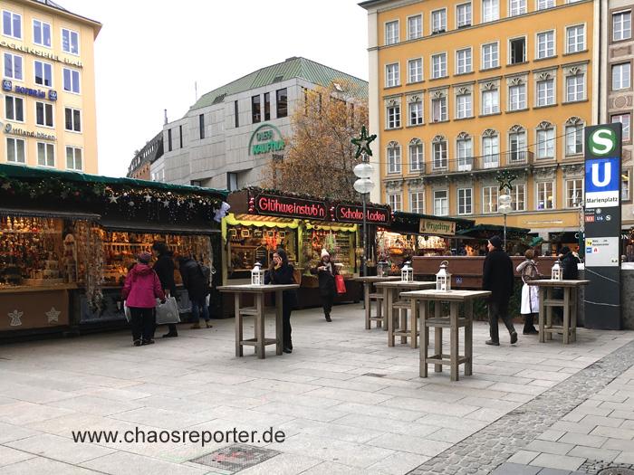 Christkindlmarkt München Blick zum Kaufhof Marienplatz